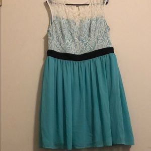 XL Teal/Ivory Lace Dress by Mystic
